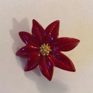Rose gold red paint flower pin